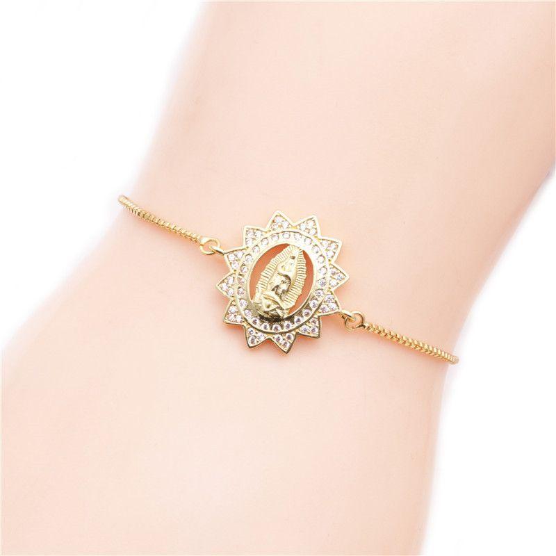 Brazilian style copper micro-set zircon adjustable bracelet Valentine's Day gift wholesale nihaojewelry NHYL232470