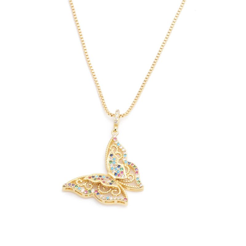 fashion jewelry micro-set zircon butterfly pendant necklace ladies necklace Copper Necklace wholesale nihaojewelry NHYL232472