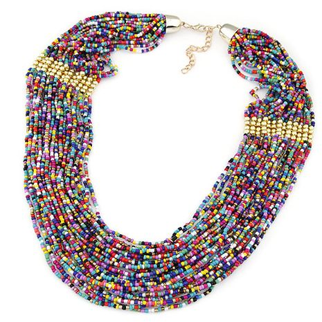 fashion trend celebrity style Bohemian multi-layer rice bead necklace wholesale nihaojewelry NHSC232493's discount tags