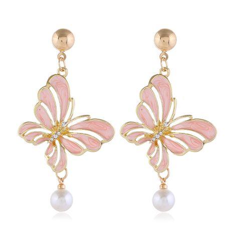 Boucles d'oreilles papillon creuses de contraste de couleur coréenne simples et élégantes en gros nihaojewelry NHSC232491's discount tags