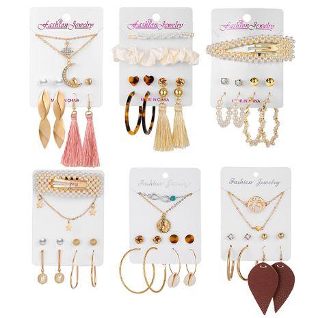 mode diamant collier amour gland boucles d'oreilles ensemble créatif rétro simple boucles d'oreilles en alliage ensemble en gros nihaojewelry NHPJ232500's discount tags