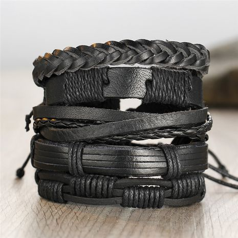mode 5-couche noir bracelet en cuir pour hommes rétro tissé bricolage similicuir bracelet en gros nihaojewelry NHPJ232504's discount tags