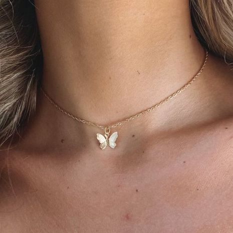hot-selling butterfly pendant necklace creative retro simple alloy clavicle chain wholesale nihaojewelry NHPJ232505's discount tags