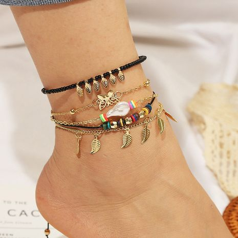 Bohemian butterfly leaf multi-layer suit anklet trend woven chain wholesale nihaojewelry NHLA232508's discount tags