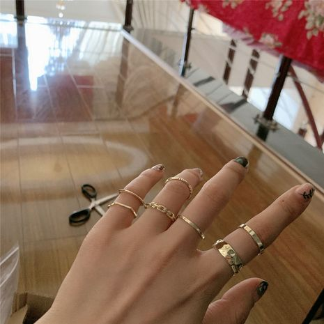 simple gold  niche retro stacking multi-piece suit brass tail ring set  wholesale nihaojewelry NHYQ232517's discount tags