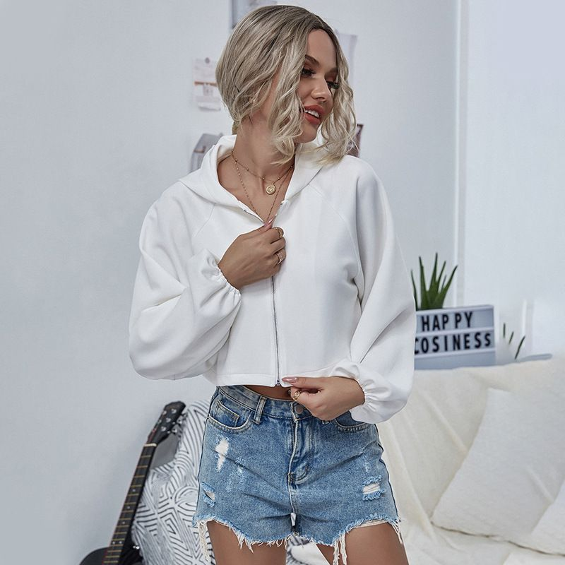 autumn and winter new vneck zipper longsleeved white shirt loose bat sleeve jacket exposed navel short wholesale nihaojewelry NHDF232540