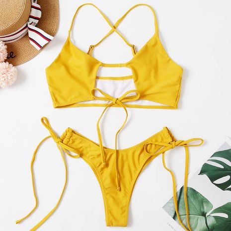 fashion new sexy solid color bikini tether split swimsuit wholesale nihaojewelry NHHL232609's discount tags
