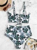 nouveau hot spring beach bikini maillot de bain plateau en acier runi sexy treillis vert feuilles bikini gros nihaojewelry NHHL232619