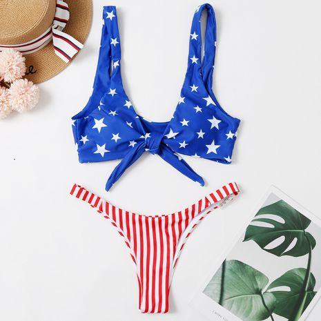 new swimwear bikini flag printed stars knotted sexy bikini wholesale nihaojewelry NHHL232637's discount tags