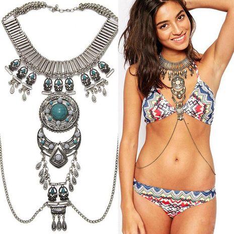 nouveaux accessoires boho collier de pierres précieuses exagéré rétro style ethnique longue chaîne de corps en gros nihaojewelry NHWF232736's discount tags