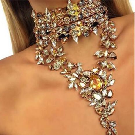 new accessories exaggerated water droplets full diamond crystal necklace jewelry explosion clavicle chain wholesale nihaojewelry NHWF232737's discount tags