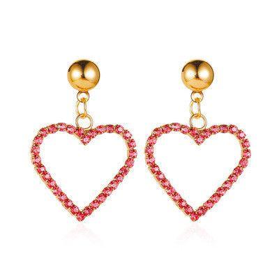 new love earrings sweet heart-shaped hollow earrings diamond peach heart earrings wholesale nihaojewelry NHCU232738's discount tags
