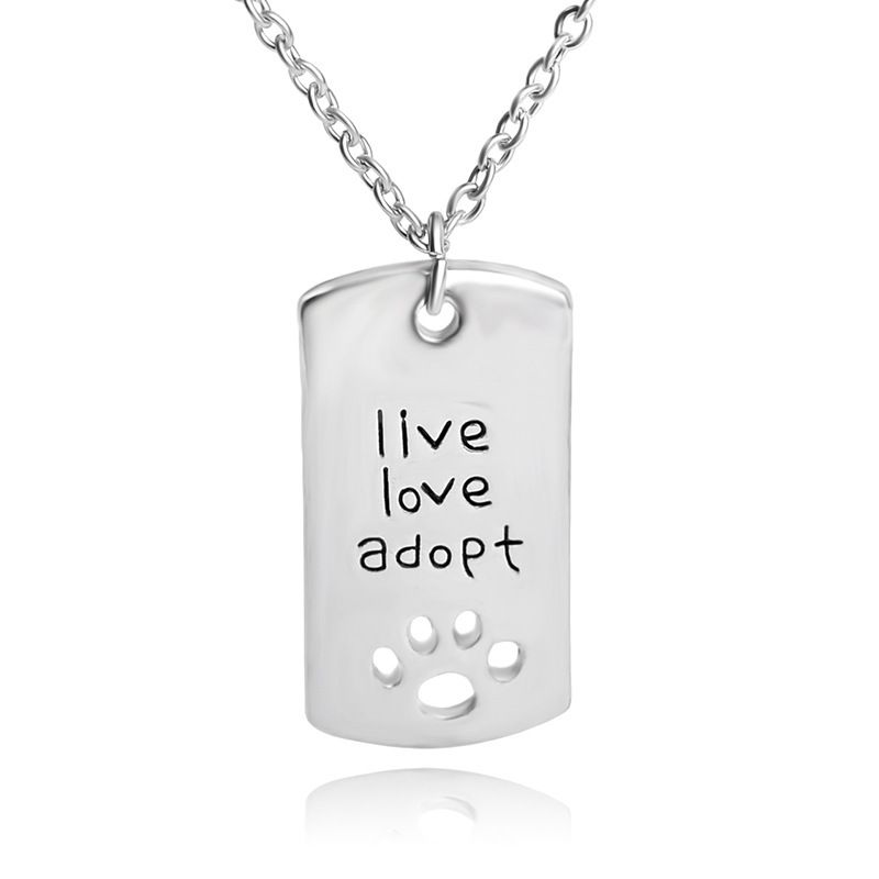 new style necklace pet live love adopt hollow out dog claw pendant necklace clavicle chain accessories wholesale nihaojewelry NHCU232740