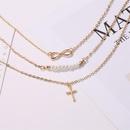 Meilleure vente collier long 8 mots perle multicouche collier croix pendentif collier chane de clavicule en gros nihaojewelry NHCU232742