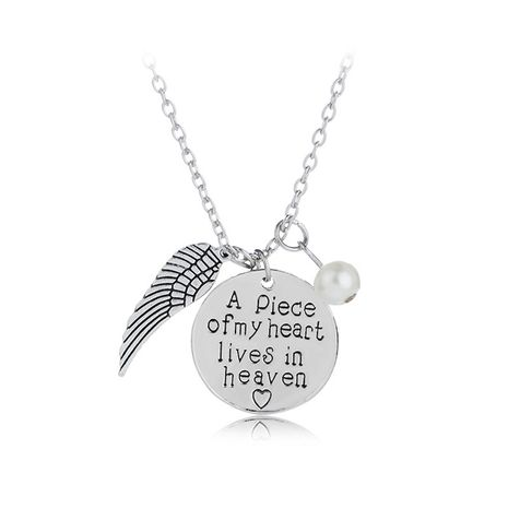 round wings pendant necklace A piece of my heart in heaven necklace wholesale nihaojewelry NHCU232744's discount tags