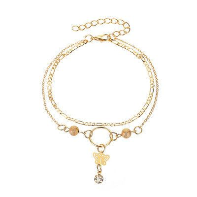 new bracelet tassel pendant hollow butterfly anklet ladies summer beach double-layer bracelet anklet wholesale nihaojewelry NHCU232746's discount tags