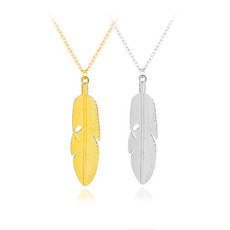 fashion new hot selling simple natural leaves feather pendant necklace accessories wholesale nihaojewelry NHCU232748's discount tags