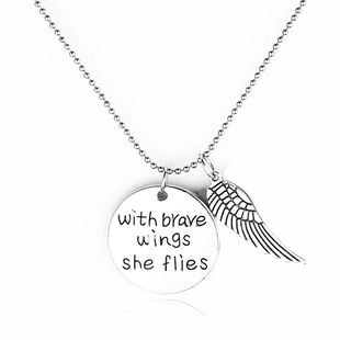 necklace sweater chain new fashion English lettering wings pendant necklace accessories wholesale nihaojewelry NHCU232749's discount tags