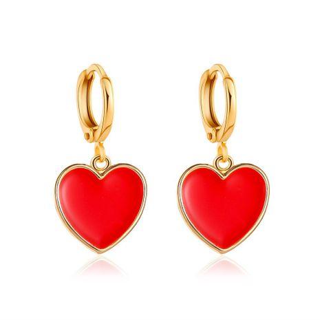 new fashion red small love earrings simple vitality girl peach heart earrings wholesale nihaojewelry NHCU232755's discount tags