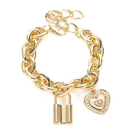 hot sale punk style hip-hop thick chain lock bracelet fashion couple love pendant bracelet jewelry wholesale nihaojewelry NHCU232756's discount tags