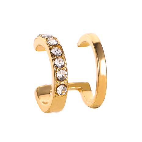 new line diamond ear clip fashion double c ear bone clip double u-shaped pierced ear clip wholesale nihaojewelry NHCU232762's discount tags
