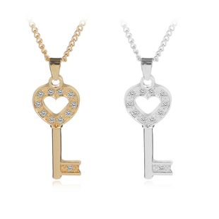 necklace chain clavicle chain fashion heart-shaped key Korean ladies love diamond inlaid pendant necklace wholesale nihaojewelry NHCU232769's discount tags