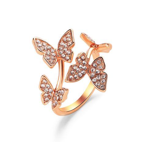 nouvelle bague d'ouverture ornement à la main plein diamant quatre papillon anneau doigt ouverture anneau en gros nihaojewelry NHCU232771's discount tags