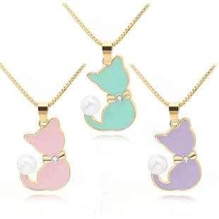 necklace clavicle chain wild cute cartoon alloy dripping pearl cat new clavicle chain wholesale nihaojewelry NHCU232773's discount tags