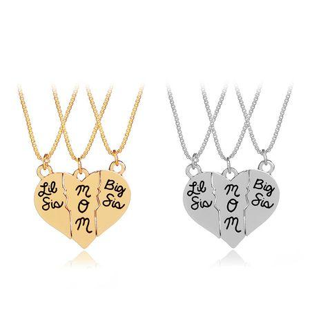 simple mode cadeau de fête des mères grande soeur maman trois pétales amour couture pendentif collier en gros nihaojewelry NHCU232776's discount tags