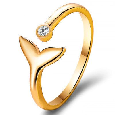 new style simple mermaid opening joint ring inlay diamond fish tail ring valentine gift wholesale nihaojewelry NHCU232780's discount tags