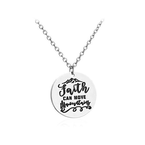 letter necklace Faith can move mountain range faith mountain necklace wholesale nihaojewelry NHCU232782's discount tags
