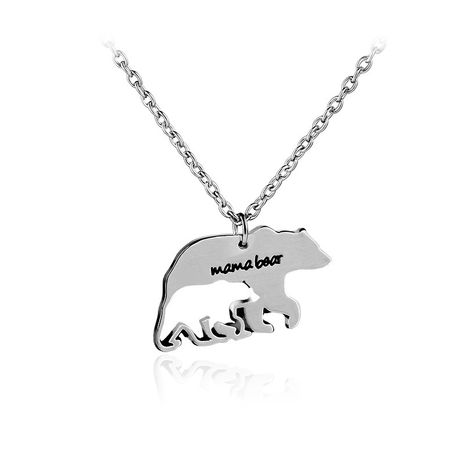 bear mother necklace clavicle chain mother's day gift Mama Bear animal bear necklace wholesale nihaojewelry NHCU232785's discount tags