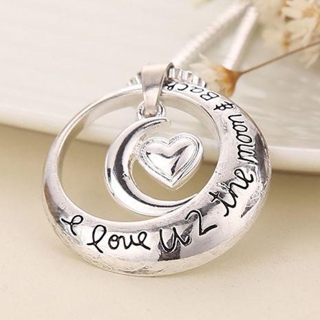popular jewelry I Love you toThe MoonandBack heart necklace moon sun necklace wholesale nihaojewelry NHCU232786's discount tags