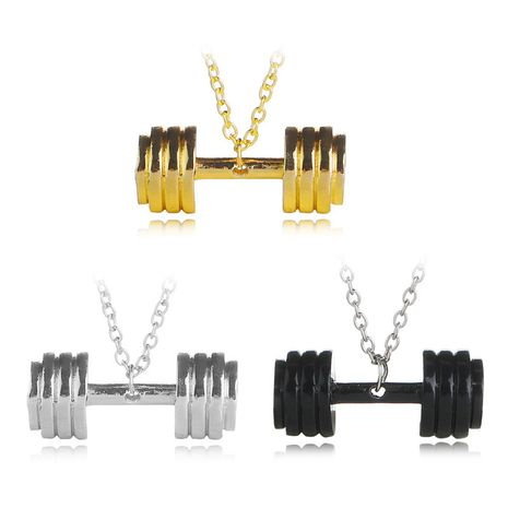 hot sale fitness master necklace men and women fun fitness sports barbell pendant necklace clavicle chain accessories wholesale nihaojewelry NHCU232796's discount tags