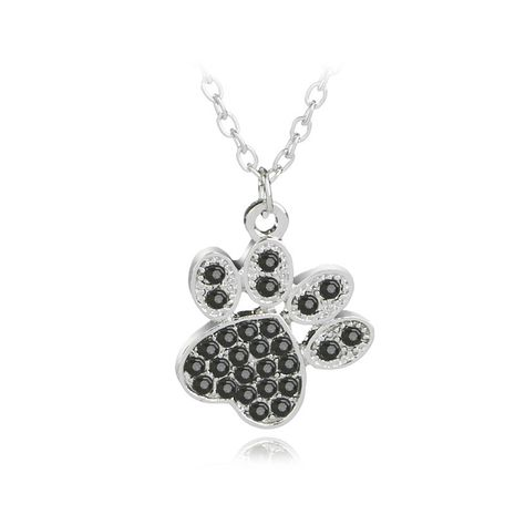 necklace fashion cute personality pet dog paws diamond pendant necklace clavicle chain accessories wholesale nihaojewelry NHCU232798's discount tags