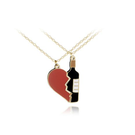new love splicing wine bottle necklace cartoon creative love red wine necklace selling wholesale nihaojewelry NHCU232803's discount tags