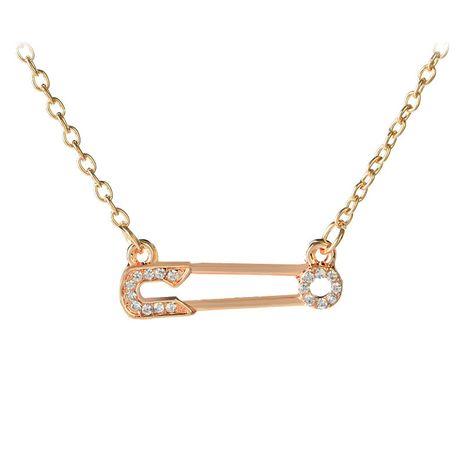 Nouvelle lettre collier à la mode sauvage évider diamant insérer broche pendentif collier chaîne de clavicule en gros nihaojewelry NHCU232807's discount tags