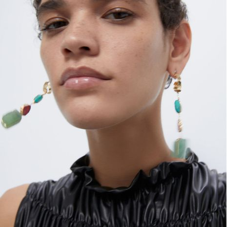exaggerated geometric colored turquoise handmade tassel alloy earrings wild earrings wholesale nihaojewelry NHLN232814's discount tags