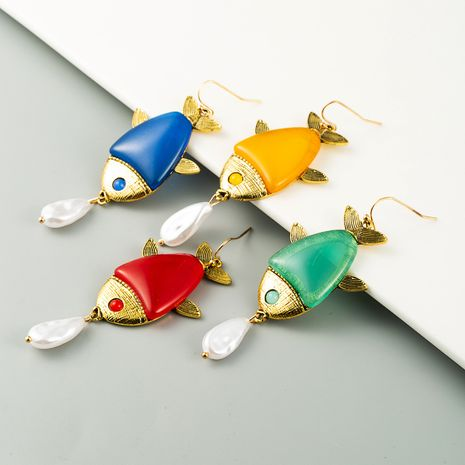 retro animal fish earrings alloy hanging pearl earrings fashion women resin accessories wholesale nihaojewelry NHLN232817's discount tags