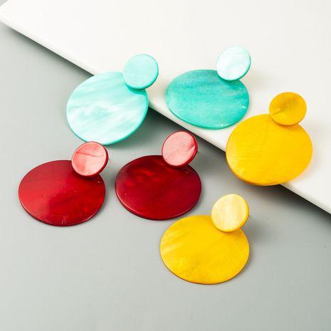 fashion geometric natural shell earrings ladies simple round earrings big earrings wholesale nihaojewelry NHLN232822's discount tags