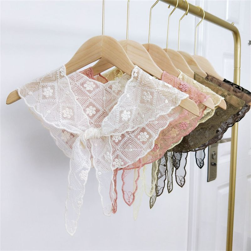 New lace embroidered triangle scarf spring and summer Korean fashion scarf headband wholesale nihaojewelry NHMN232848