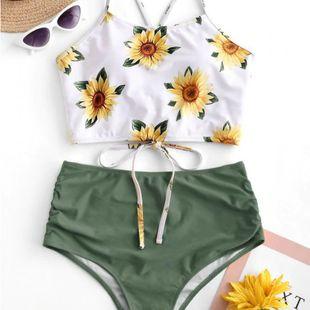 sunflower bikini swimsuit sun flower print new swimsuit bikini wholesale nihaojewelry NHHL232638's discount tags
