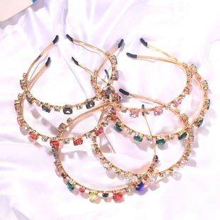 Korea new personality fashion diamond color hair band candy color crystal cute hair band  nihaojewelry wholesale NHJQ232859's discount tags