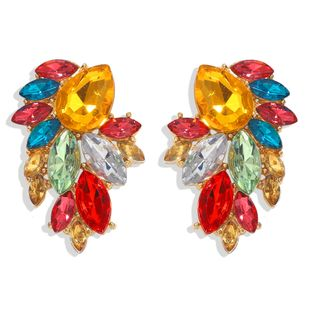 creative new fashion exaggerated studded crystal diamond crystal flower alloy earrings nihaojewelry wholesale NHJQ232861's discount tags