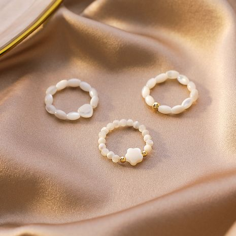Korean pearl rings women love shell index finger ring wild design sense bracelet ring stack rings NHMS232868's discount tags