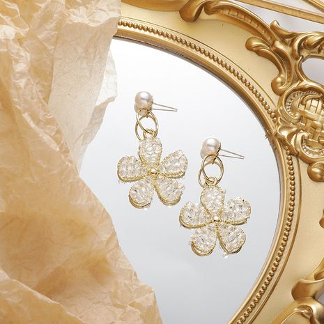 925 Silver Post Korean Crystal Flower Earrings  New  Temperament  Earrings  nihaojewelry wholesale NHMS232870's discount tags