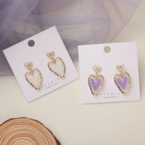 Coréenne nouvelle mode violet amour 925 argent aiguille en forme de coeur boucles d'oreilles girly nihaojewelry gros NHMS232872's discount tags