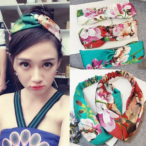 Korean new  fashion  geranium flower letter satin elastic cross beam headband nihaojewelry wholesale  NHSA232905's discount tags