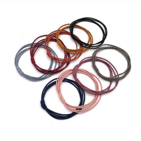 Gomas para el cabello de color sólido coreano tocado de anillo de pelo anudado simple cuatro hilos color sólido cuerda de pelo básica banda de goma elástica alta NHSA232909's discount tags