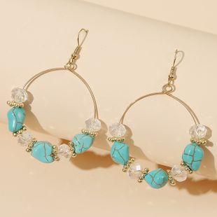 Geometric round beaded acrylic stone earrings retro handmade beach wind earrings wholesale NHLA232913's discount tags